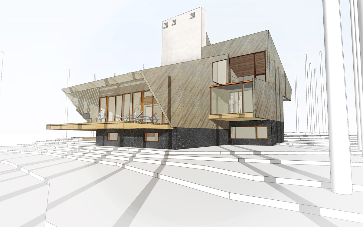 Unit 7 Architecture | Residential - Victoria Beach Summer Home V - REAR OF BUILDING RENDERING