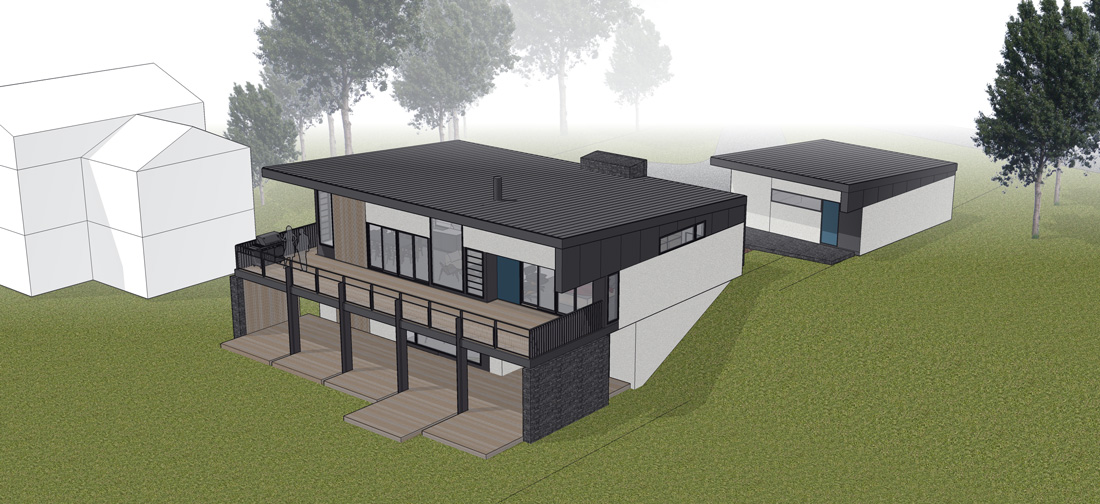 Unit 7 Architecture | Projects - Lake of the Prairies Summer Home - AERIAL DESIGN STUDY RENDERING