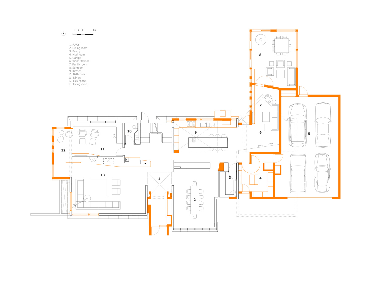 Unit 7 Architecture | Projects - Handsart Residence ZT - MAIN FLOOR PLAN