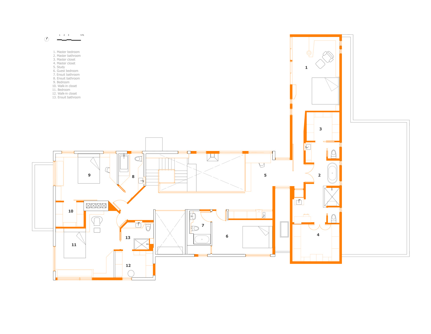 Unit 7 Architecture | Residential - Handsart Residence ZT - SECOND FLOOR PLAN