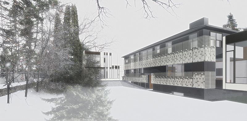 Unit 7 Architecture | Projects - Handsart Residence ZT - WINTER RENDERING FROM BACKYARD