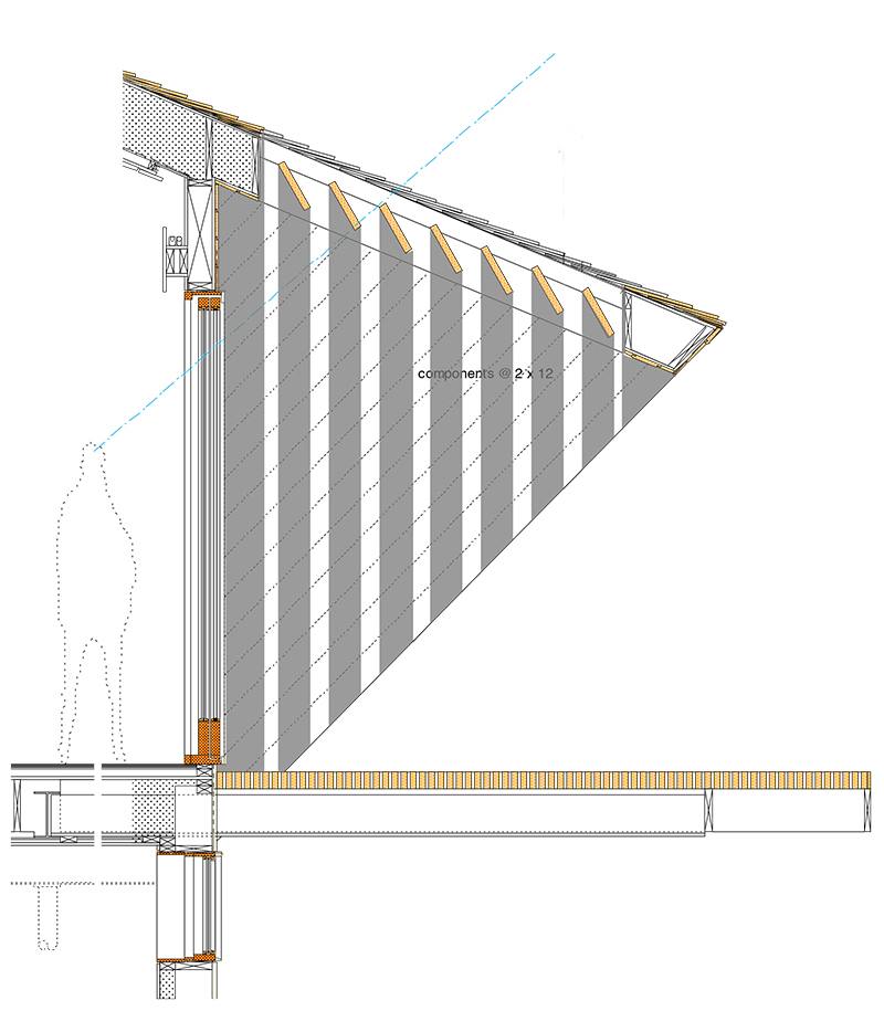 Unit 7 Architecture | Residential - Victoria Beach Summer Home V - WALL SECTION THROUGH LAKE ROOM AND NEW CANTILEVERED DECK