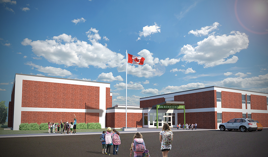 Unit 7 Architecture | Projects - école Bonaventure - RENDERED VIEW OF THE NEW MAIN ENTRANCE AND GYMNASIUM ADDITION TO THE SOUTH