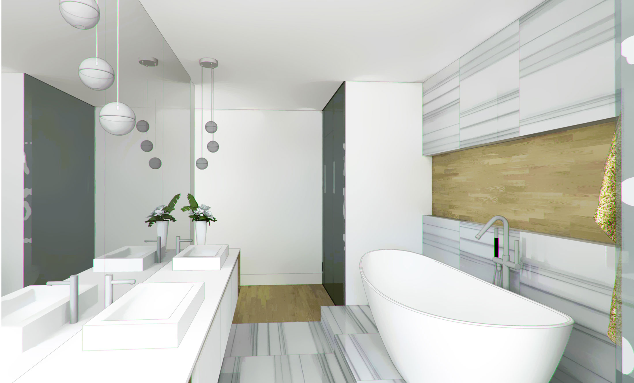 Unit 7 Architecture | Projects - South Drive Residence M - INTERIOR BATHROOM RENDERING