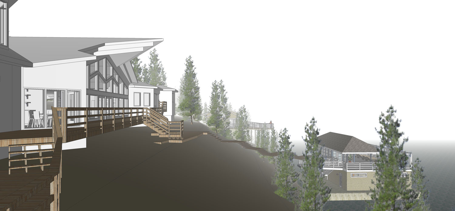 Unit 7 Architecture | Projects - Lake of the Woods Summer Home - REAR AND DOCK HOUSE RENDERING