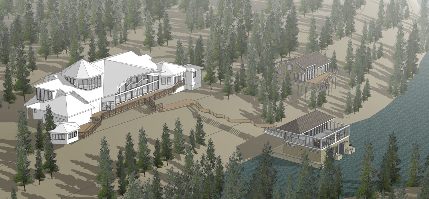 Unit 7 Architecture | Projects - Lake of the Woods Summer Home - AERIAL RENDERING