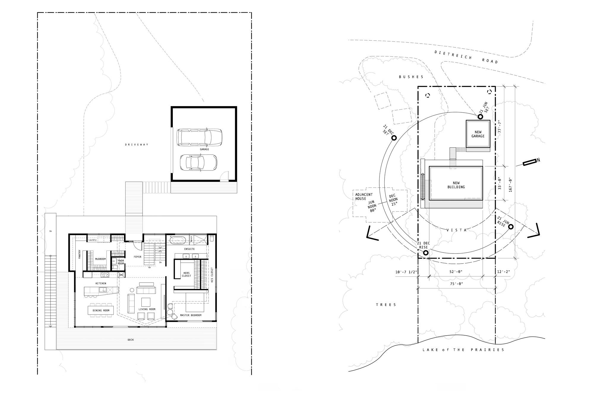 Unit 7 Architecture | Projects - Lake of the Prairies Summer Home - LEFT TO RIGHT: MAIN LEVEL PLAN AND SITE PLAN