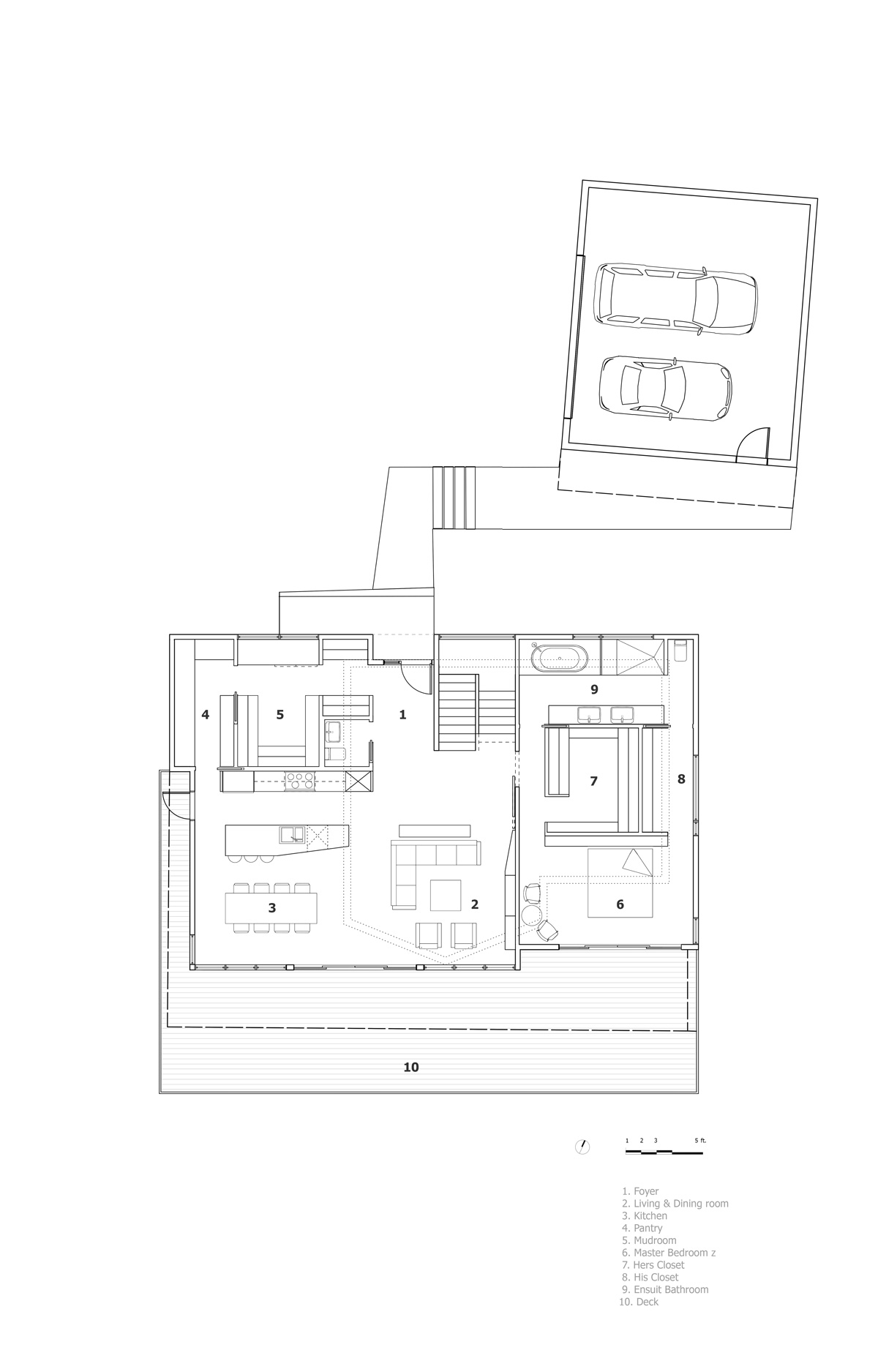 Unit 7 Architecture | Projects - Lake of the Prairies Summer Home - MAIN FLOOR PLAN